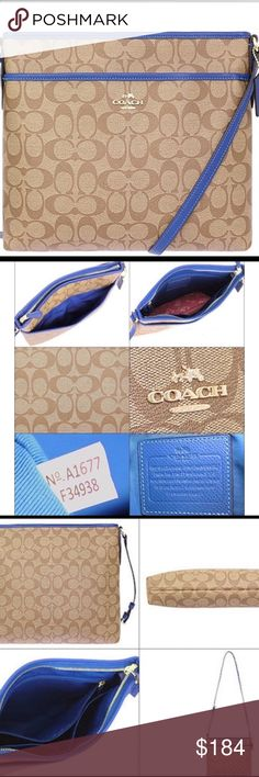 """NWT Coach File Bag in Tan/Electric Blue New Coach Signature File Bag! F34938 This beauty is trimmed in a fabulous blue! It is lined, has 1 zip and multiple slip pockets, don't think it's small and can't hold much, you'd be surprised! The back has an open slip pocket! See, ROOM! The strap is adjustable so you can wear it on your shoulder or Crossbody it's up to you! It measures 12 X 10 X 2 strap is 43-49"""" Coach Bags Shoulder Bags"""