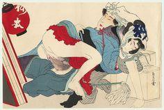 Shigenobu I (1787 - 1832) Japanese Woodblock Reprint Oban Color Shunga Design, 1823