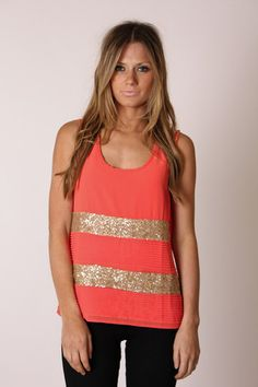 Coral gold sequin stripe top