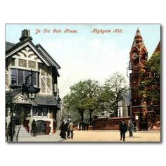 Postcard of the old Gate House, Highgate Hill, London