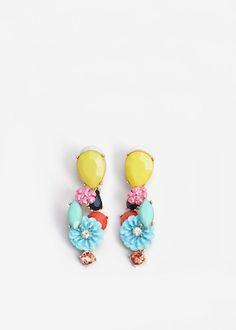 Flower pendant earrings | MANGO