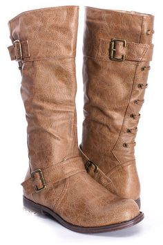 NUDE FAUX LEATHER BUCKLE MID CALF FLAT RIDING BOOTS