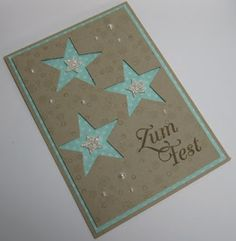 Card in choice of colour,front in choice of colour with 3 stars dye cut . Choice of greeting and small star embellsihment