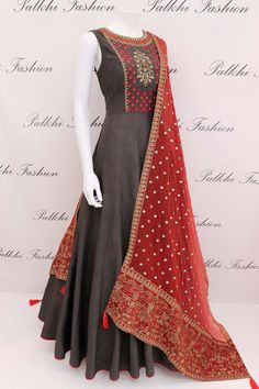 Designer Dark Grey Silk Outfit With Handwork Duppta Indian Gowns Dresses, Pakistani Dresses, Indian Designer Outfits, Indian Outfits, Indian Clothes, Designer Anarkali Dresses, Designer Dresses, Lehenga Designs, Party Wear Dresses
