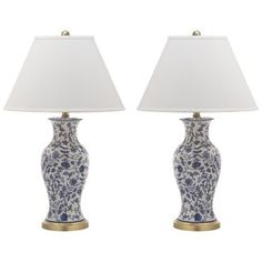Shop for Safavieh Lighting 29-inch Beijing Blue/ White Floral Urn Lamp (Set of 2). Get free delivery at Overstock.com - Your Online Home Decor Shop! Get 5% in rewards with Club O! - 16707775