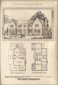 Interesting Colonial House by Architect Andrew Charles Borzner. The book of beautiful homes. St Just, Storybook Homes, Vintage House Plans, Vintage Homes, Vintage Diy, Antique House, Tudor House, Sims House, Architecture Plan
