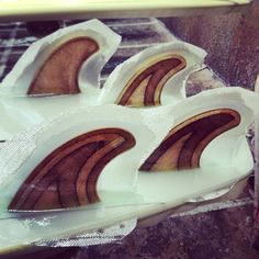 Quadkumber plywood fins by Gully - glassed on by Clutch at Watermans for Almond Surfboards