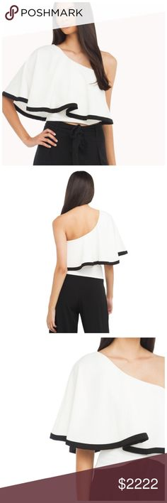 "🆕 White Full One Shoulder Ruffle Top D40 ‼️ PRICE FIRM ‼️ 10% DISCOUNT ON 2 OR MORE ITEMS FROM MY CLOSET ‼️   White & Black One Shoulder Sleeve Top  Retail $59  Size Small  ABSOLUTELY FABULOUS LOOK! 100% polyester. There is some stretch for a perfect & comfortable fit.  SMALL Bust 37"" Length of garment 18.5"" Tops"