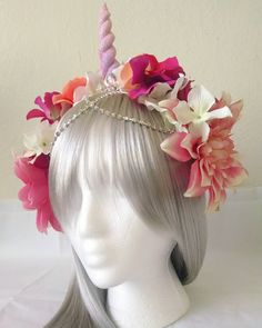"""Spring Blossom Unicorn headband ravewear rave outfit festival fashion EDC outfit flower crown pastel glitter  thebouncingbunny  (@the.bouncing.bunny) on Instagram: """"✨NEW✨ Just listed this gorgeous spring blossoms #unicornheadband  the dangling chains give it…"""""""
