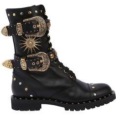 Fausto Puglisi Women 20mm Buckles & Studs Leather Combat Boot ($905) ❤ liked on Polyvore featuring shoes, boots, black, black military boots, studded boots, black buckle boots, black army boots and black boots