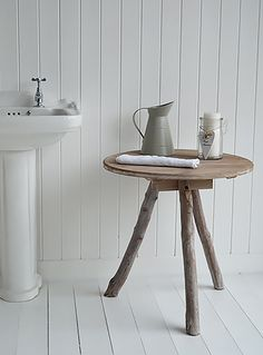 Driftwood table for bathroom. New England, Scandi, Danish and French style bathroom furniture from The White Lighthouse Coastal Inspired Bathrooms, Coastal Bedrooms, Coastal Living Rooms, White Bathroom Furniture, White Bathroom Cabinets, Hallway Furniture, Furniture Ideas, Small Bathroom Renovations, Diy Bathroom Remodel