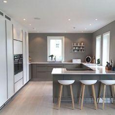 Modern Kitchen Design Modern Kitchen Cabinets Ideas to Get More Inspiration Dish Kitchen Room Design, Modern Kitchen Design, Home Decor Kitchen, Kitchen Living, Kitchen Interior, Home Kitchens, Kitchen Ideas, Kitchen Layouts, Luxury Kitchens