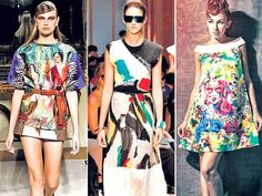 @htCity ~ Going artsy: This is how you rock #ArtHouse #Chic, {A Aquilano Rimondi creation on the Milan runway.. Graffiti inspired creations from Celine #SS14 collection.. Keep accessories minimal when wearing a paint splashed dress ( outfit by Asha and Gautam Gupta https://www.facebook.com/AshaAndGautamGupta )}
