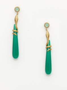 Eddera  Green Onyx & Snake Earrings  $144 Gilt. These would be beautiful with hair up