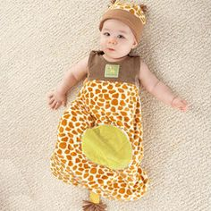 """""""Born To Be Wild"""" Giraffe Snuggle Sack and Hat. When the zoo sleeps at night, the giraffes are a sight! This soft snuggle sack is as cute as a giraffe's neck is long, which is why the new mom and dad will love being baby's """"zookeepers"""" at bedtime. #giraffe #sack"""