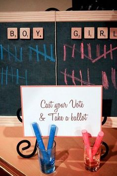 A beautiful Gender Reveal Party. Some ideas can be used for a baby shower when the gender is a surprise.