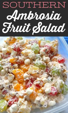 Ambrosia Fruit Salad This retro fruit salad is simple and perfect with pineapple, mandarin oranges, cherries, green grap Fruit Salad Making, Best Fruit Salad, Dressing For Fruit Salad, Fruit Salad Recipes, Cherry Fruit Salad Recipe, Fruit Fruit, Dessert Aux Fruits, Dessert Salads, Cheesecake Fruit Salad