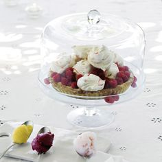 Lidded Glass Cake Stand from The White Company The White Company, Food Presentation, Vintage Kitchen, Home Accessories, Panna Cotta, Tea Pots, Food And Drink, Pudding, Baking