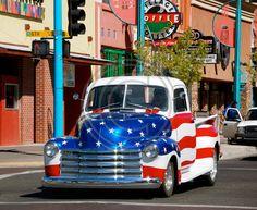 Albuquerque Street - Red White and Blue Truck. This and thousands of other high quality royalty-free digital photos are available for download from Refocus Photography - www.refocusphotography.com for only $5.00!