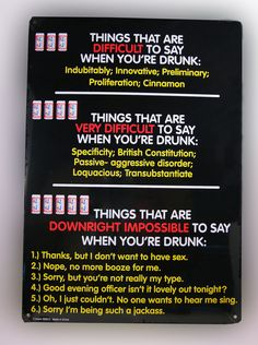 Things That Are Difficult To Say When Your Drunk Tin Sign