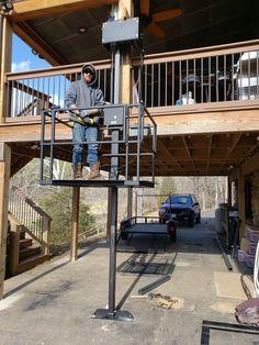 Attic Lift, Garage Lift, House Lift, Gazebo On Deck, Elevator Design, House Cladding, Lift Design, Casas Containers, Steel Columns
