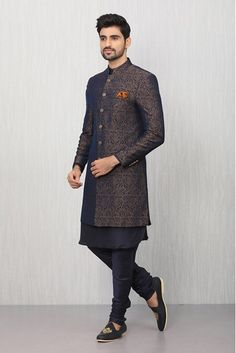 Wedding Dresses Men Indian, Wedding Dress Men, Groom Outfit, Groom Dress, Manyavar Sherwani, Pocket Square Styles, Western Suits, Formal Men Outfit, Mandarin Collar