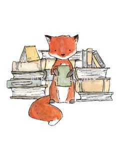 This fox loves his books. art print from an original watercolor, gouache, and acrylic painting by Kit Chase. archival matte paper and ink vertical print ships w