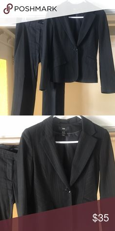 H&M 2-piece Suit Black pin-striped 2-piece suit from H&M.  Lined pants and jacket with pockets.  H&M tends to run small.  I am normally a size 2 jacket / size 4 pants, but this size 4 jacket / size 6 pants fit. H&M Other