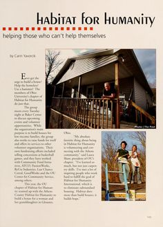 """Athena Yearbook, 2005. """"Ever get the urge to build a house? Help the homeless? Use a hammer? The members of Ohio University's chapter of Habitat for Humanity do just that."""" :: Ohio University Archives"""