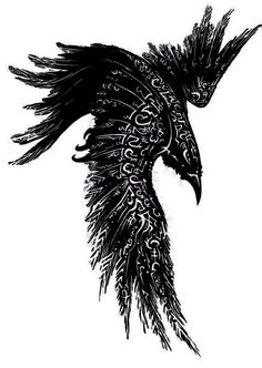 This would make an amazing raven tattoo. (not tattoo, but raven with wings paint. Norse Tattoo, Celtic Tattoos, Viking Tattoos, Kunst Tattoos, Body Art Tattoos, Sleeve Tattoos, Fox Tattoos, Tree Tattoos, Hand Tattoos