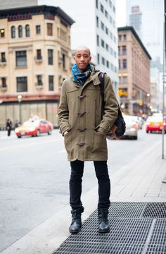 Printed scarf and cozy coat in Toronto street style.