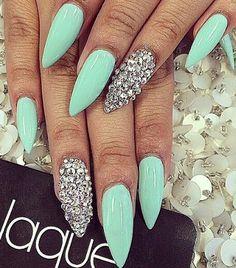 Mint rhinestone stiletto nails