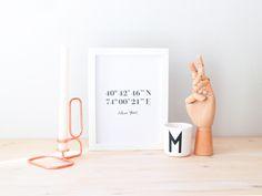 Print de Coordenadas, Coordenadas de Nueva York, Regalo de boda, Regalo personalizado, Print de latitud y longitud, Wedding Gift, print