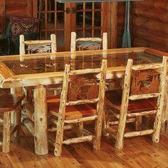 Cedar Log Dining Room Table