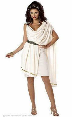Classic Women's Roman Toga Costume - Women's Classic Roman Toga Costume Simple and classy women's classic toga fancy dress costume by California Costumes. High quality women's ancient Roman costume to make you look amazing at your next toga party! Includes: Dress Belt Description: Cream colour stretch fabric toga. The toga has a front and back attached sash with gold braid trim. A gold braid belt is included to complete your Roman costume. Small ...