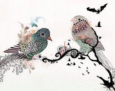 Love birds art, Pen and ink art, Bird illustration, Love birds painting, Colorful