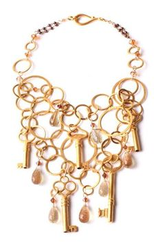 Denise Manning: 18k Gold Plated Vintage Key Necklace with Crystal Briolettes- The necklace that has the key to your heart! Check it out!  £595 @gift-library.com #necklace