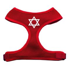 Star of David Screen Print Soft Mesh Harness Red Small