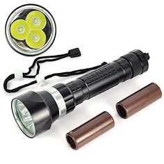 High Power 4000LM 30W Diving Flashlight 3x XM-L L2 LED Waterproof Torch…