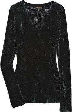 Burberry Prorsum Smocked Velvet Sweater in Black (green)