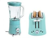 Toaster and blender in turquoise aqua.... Such a cute touch in a white black and gray kitchen