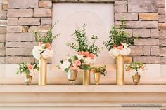 Fireplace Mantel Floral Design in Coral and White with Gold Zodiac, Gold, and Mercury Glass Vases - The French Bouquet - Amanda Watson Photography