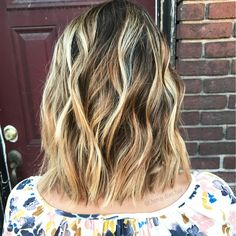 "(@chenay.does.hair) on Instagram: ""Brighter, dimensional blonde Balayage for my babe "" lob long bob haircut"