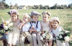 White Magazine. Flower Girls and page boys. Wild flowers.