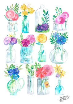 This is a digital print of my original watercolor and white india ink Glass Jars illustration! Printed on 216 gr textured paper, inches. Watercolor Cards, Watercolor Illustration, Watercolour Painting, Watercolor Flowers, Painting & Drawing, Watercolors, Flower Vase Drawing, Watercolor Stickers, Painting Canvas