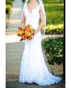 Bridal Gowns: Marisa Sheath Wedding Dress with V-Neck Neckline and No Waist/Princess Seams Waistline