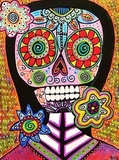Mexican Frida Kahlo day of the Dead Mirror Abstract by prisarts, $25.00