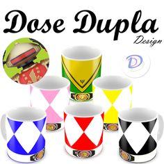 """Nova Coleção de Canecas Personalizada Power Ranger da Dose Dupla Design!!!! Escolha sua cor e grite """"É hora de mofar!!!"""""""