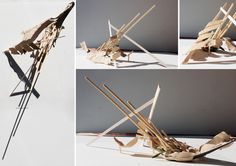 Exercise 2 - Model Making  This model represents the gastronomic technique of frying.  I used skewers and matchsticks to represents the oil that spits out when you are frying something. It represents the chaos of this activity