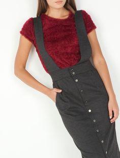 Done 😊 Εφαρμοστή μίντι φούστα με τιράντες και κουμπιά μπροστά. Toi-Moi
